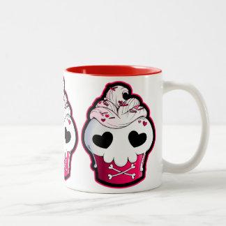Pink Skull Cupcake Two-Tone Mug