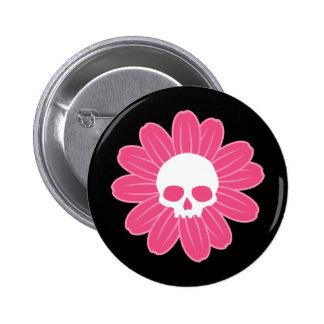 Pink Skull Flower 6 Cm Round Badge