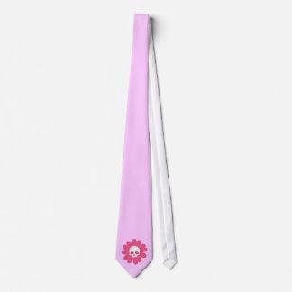 Pink Skull Flower Tie