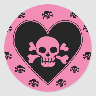 Pink Skull in Heart Classic Round Sticker