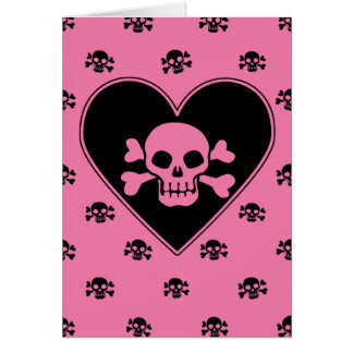 Pink Skull in Heart Greeting Card