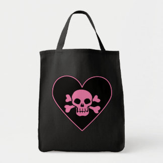 Pink Skull in Heart Grocery Tote Bag