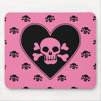 Pink Skull in Heart Mouse Pad