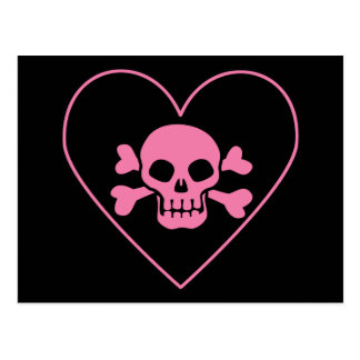 Pink Skull in Heart Postcard