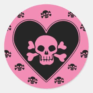 Pink Skull in Heart Round Sticker