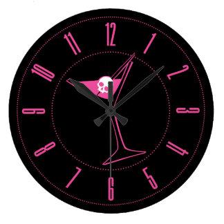 Pink Skull Martini Clock
