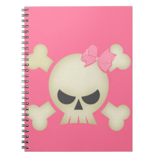 Pink Skull N Bow Notebook
