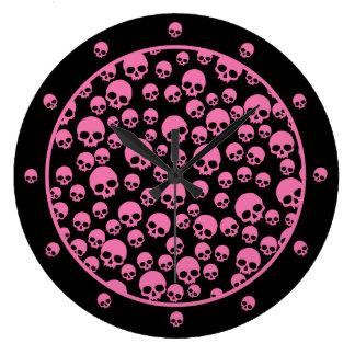 Pink Skull Pattern Round Wallclock