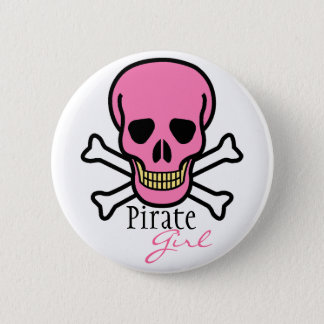 Pink Skull Pirate Girl 6 Cm Round Badge