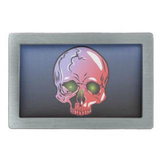 Pink skull rectangular belt buckle