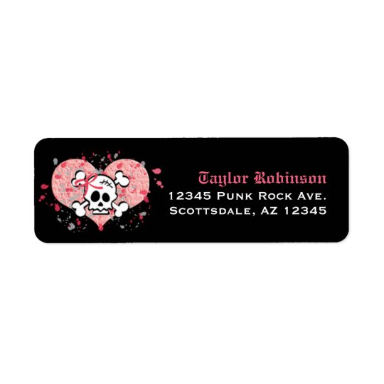 Pink Skull Return Address Labels Custom