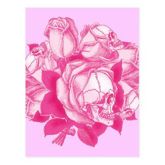 Pink Skull Roses Bouquet Postcard