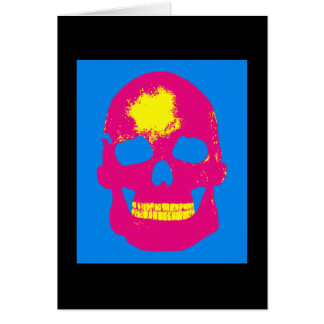 Pink Skull Silk Screen Greeting Card