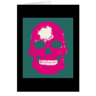 Pink Skull -- Silk Screen Greeting Card