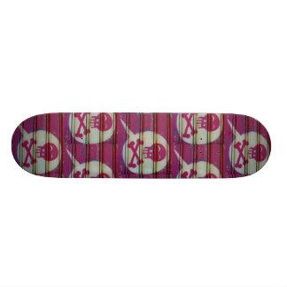 Pink skull skateboard. skateboard