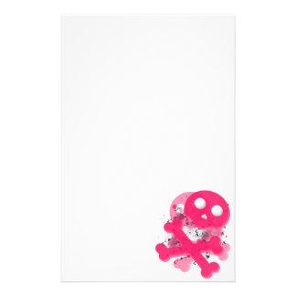 Pink skull stationary paper