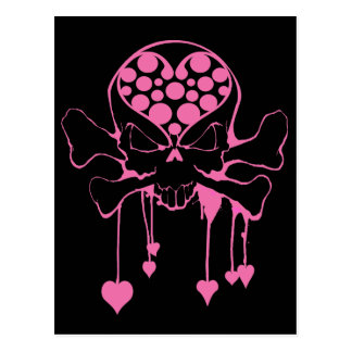PINK SKULL WITH HEARTS POSTCARD
