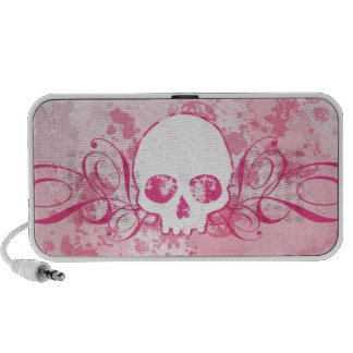 Pink Skull With Spatters And Swirls iPhone Speaker
