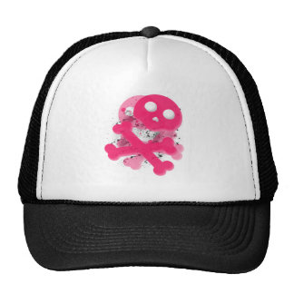 Pink skull with splatter hat