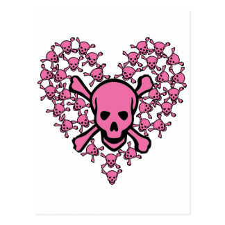 Pink Skulls in Heart Shape Postcard