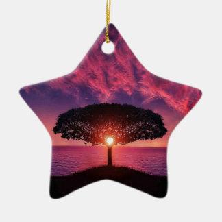 Pink sky christmas ornament