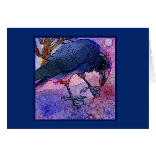 Pink Sky Crow Notecard