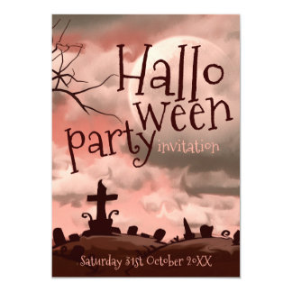 Pink Sky Halloween Graveyard Invitation