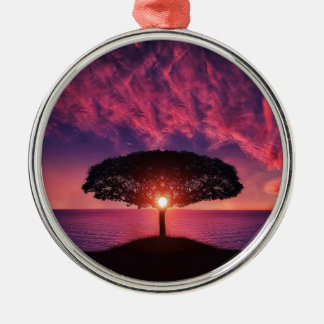 Pink sky Silver-Colored round decoration