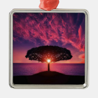 Pink sky Silver-Colored square decoration