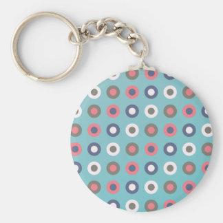Pink slash Aqua circles Key Chains