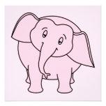 Pink Sleepy Elephant. Cartoon. Invitation