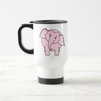 Pink Sleepy Elephant. Cartoon. Travel Mug
