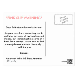 PINK SLIP WARNING POST CARD
