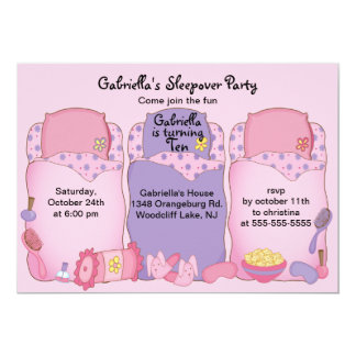 Pink Slumber Birthday Party Card
