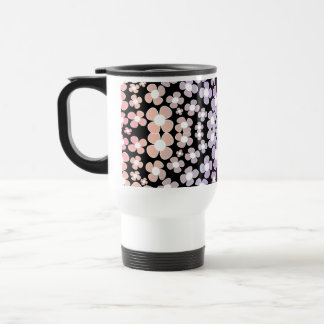 Pink small Flowers, ombre Pattern on Black - Mug