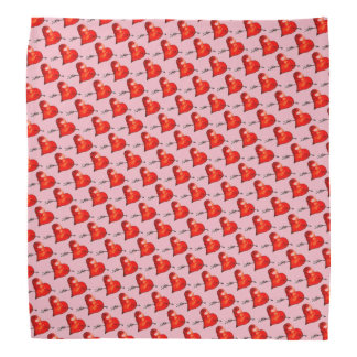 Pink Small Hearts Patterned Head Kerchief