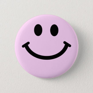 Pink smiley face 6 cm round badge