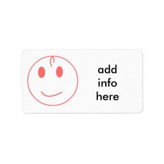 Pink Smiley Face Address Label