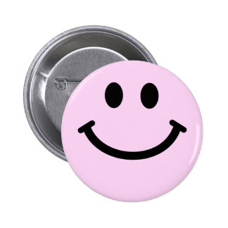 Pink smiley face pinback buttons