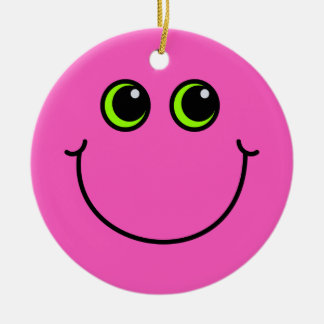 Pink Smiley Face Christmas Ornament