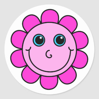 Pink Smiley Face Flower Round Sticker