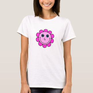 Pink Smiley Face Flower T-Shirt