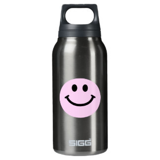 Pink smiley face insulated water bottle