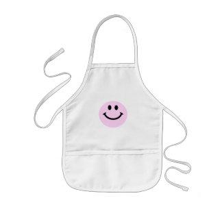 Pink smiley face kids apron