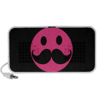 Pink Smiley Face Mustache Moustache Stache Travelling Speaker