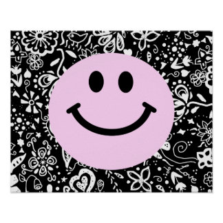 Pink smiley face poster