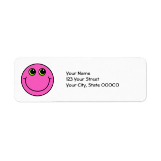 Pink Smiley Face Return Address Label