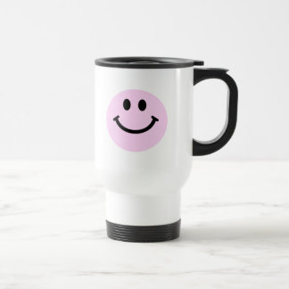Pink smiley face travel mug