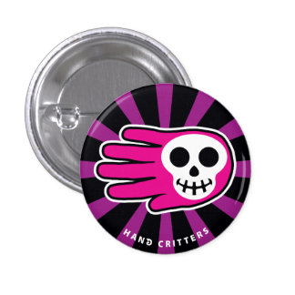 Pink Smiley Skull Buttons