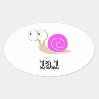 Pink Snail 13.1 (half marathon) Oval Sticker
